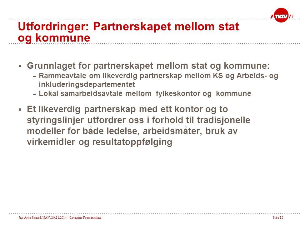 Jan Arve Strand, NAV, 20.11.2014 – Levanger FormannskapSide 12 Utfordringer: Partnerskapet mellom stat og kommune  Grunnlaget for partnerskapet mello