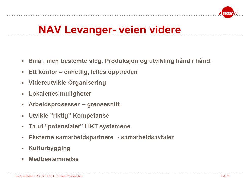 Jan Arve Strand, NAV, 20.11.2014 – Levanger FormannskapSide 19 NAV Levanger- veien videre  Små, men bestemte steg. Produksjon og utvikling hånd i hån