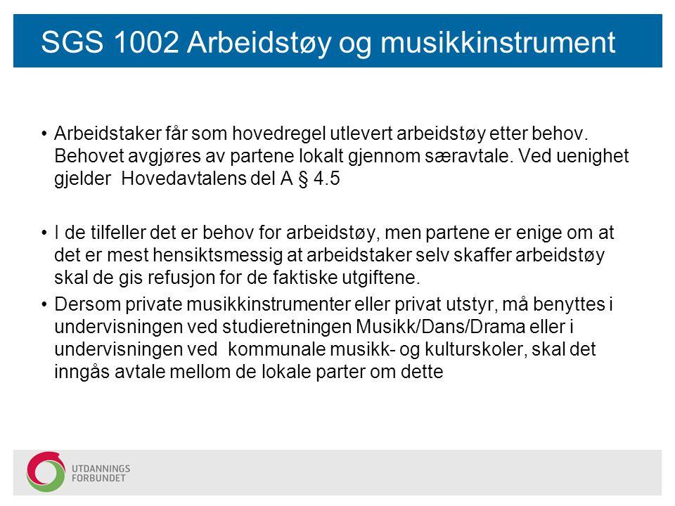 SGS 1002 Arbeidstøy og musikkinstrument Arbeidstaker får som hovedregel utlevert arbeidstøy etter behov.