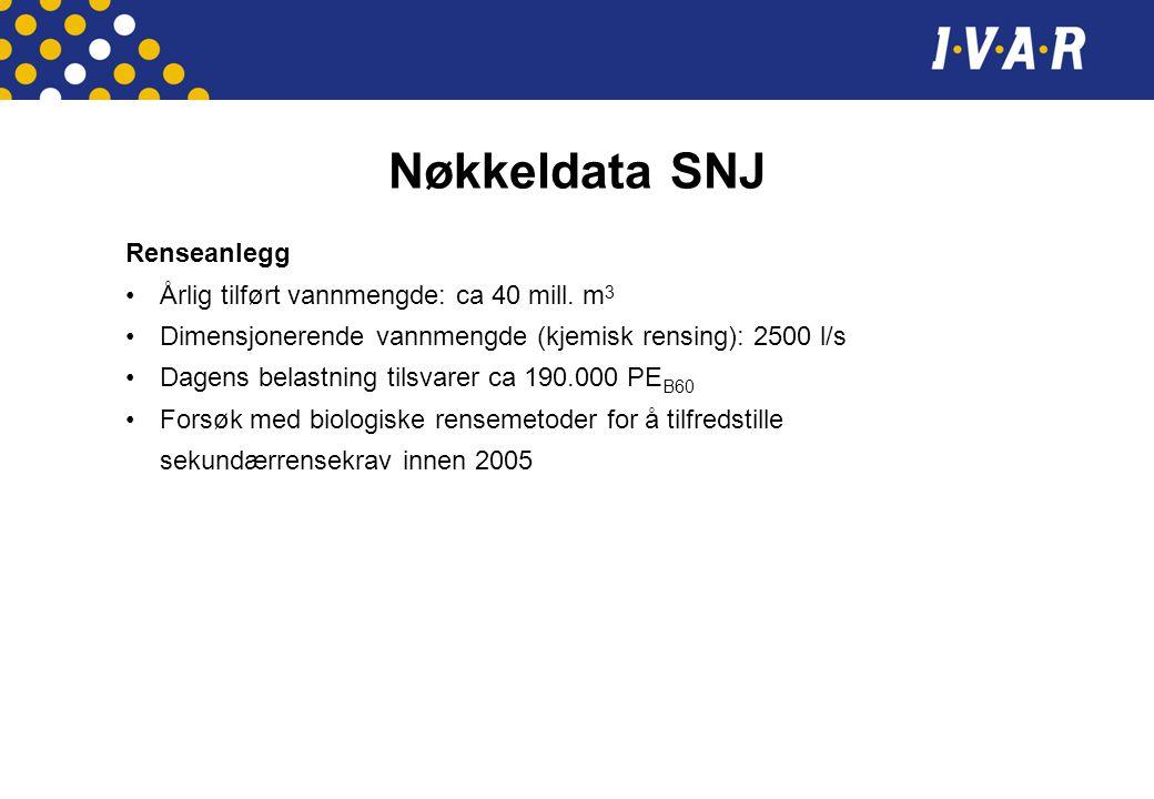 Nøkkeldata SNJ Renseanlegg Årlig tilført vannmengde: ca 40 mill. m 3 Dimensjonerende vannmengde (kjemisk rensing): 2500 l/s Dagens belastning tilsvare