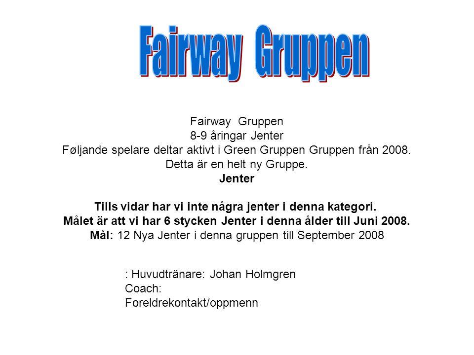Fairway Gruppen 8-9 åringar Jenter Føljande spelare deltar aktivt i Green Gruppen Gruppen från 2008.