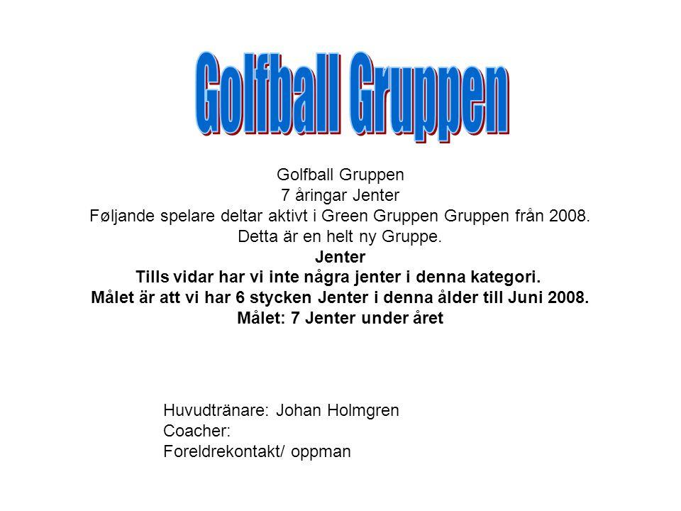 Golfball Gruppen 7 åringar Jenter Føljande spelare deltar aktivt i Green Gruppen Gruppen från 2008.