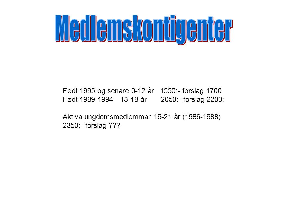 Født 1995 og senare 0-12 år 1550:- forslag 1700 Født 1989-199413-18 år 2050:- forslag 2200:- Aktiva ungdomsmedlemmar 19-21 år (1986-1988) 2350:- forslag
