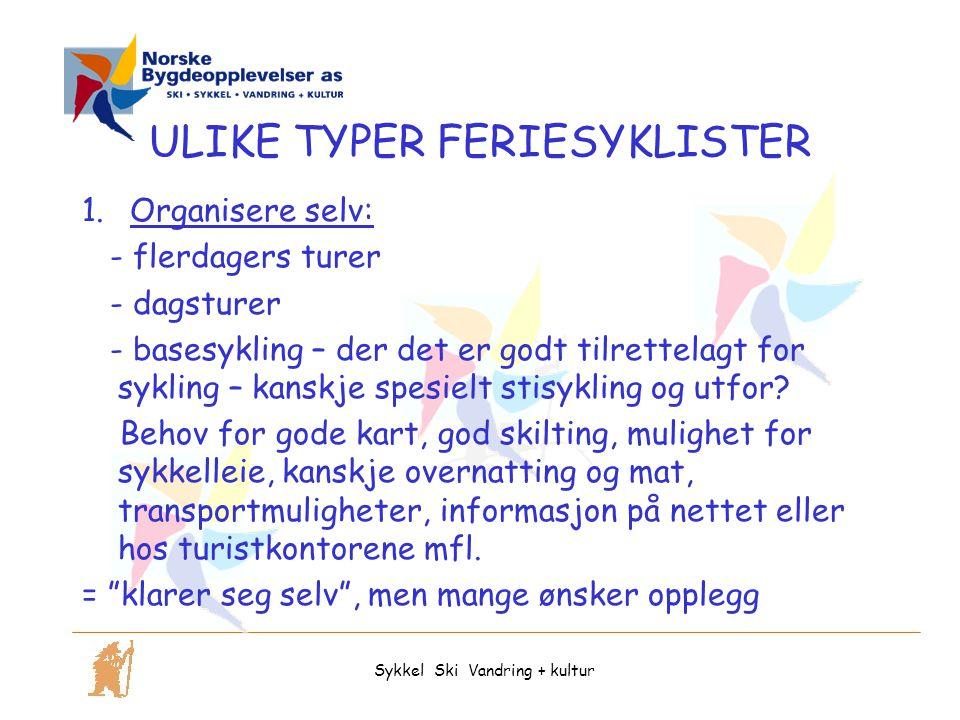 ULIKE TYPER FERIESYKLISTER 1.Organisere selv: - flerdagers turer - dagsturer - basesykling – der det er godt tilrettelagt for sykling – kanskje spesielt stisykling og utfor.