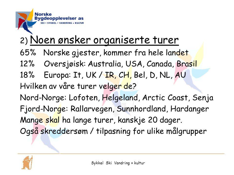 2) Noen ønsker organiserte turer 65% Norske gjester, kommer fra hele landet 12% Oversjøisk: Australia, USA, Canada, Brasil 18% Europa: It, UK / IR, CH, Bel, D, NL, AU Hvilken av våre turer velger de.