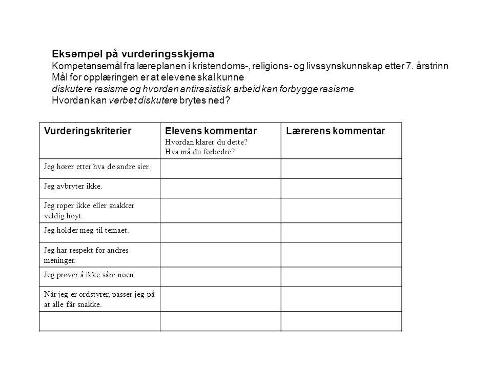 Eksempel på vurderingsskjema Kompetansemål fra læreplanen i kristendoms-, religions- og livssynskunnskap etter 7.