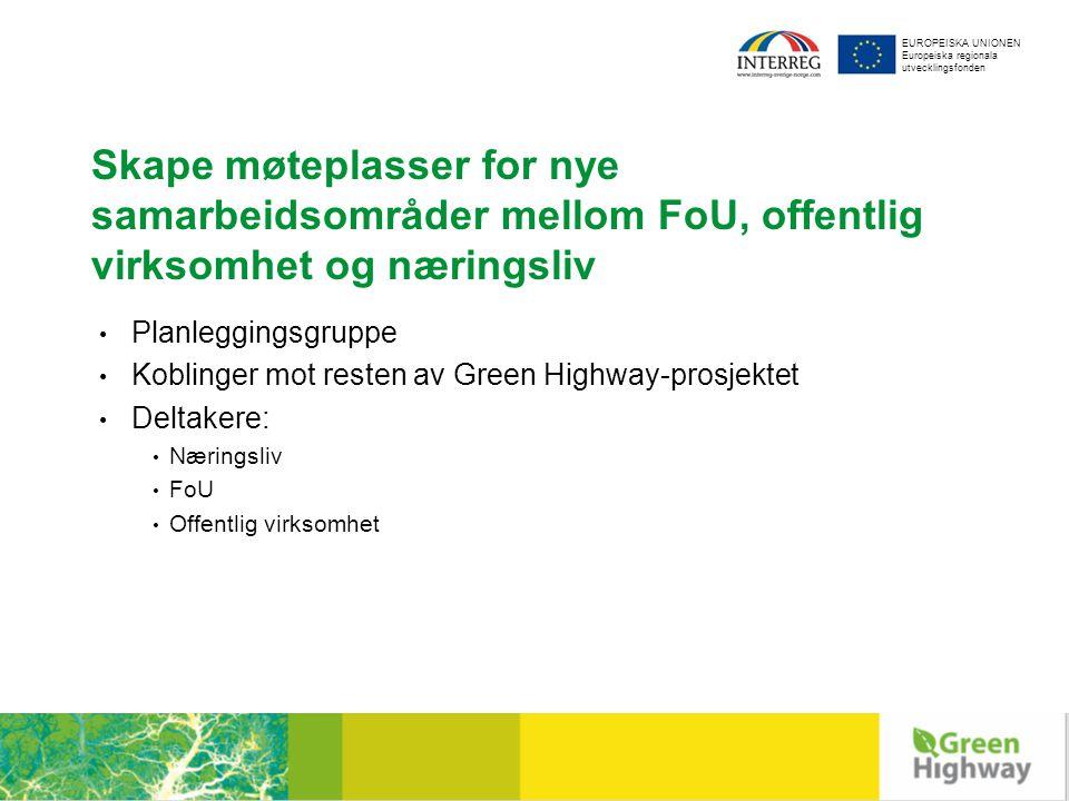 EUROPEISKA UNIONEN Europeiska regionala utvecklingsfonden Skape møteplasser for nye samarbeidsområder mellom FoU, offentlig virksomhet og næringsliv Planleggingsgruppe Koblinger mot resten av Green Highway-prosjektet Deltakere: Næringsliv FoU Offentlig virksomhet