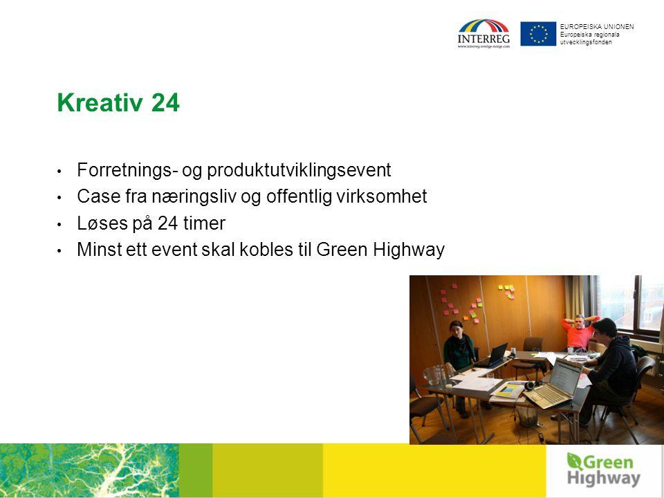 EUROPEISKA UNIONEN Europeiska regionala utvecklingsfonden Kreativ 24 Forretnings- og produktutviklingsevent Case fra næringsliv og offentlig virksomhet Løses på 24 timer Minst ett event skal kobles til Green Highway