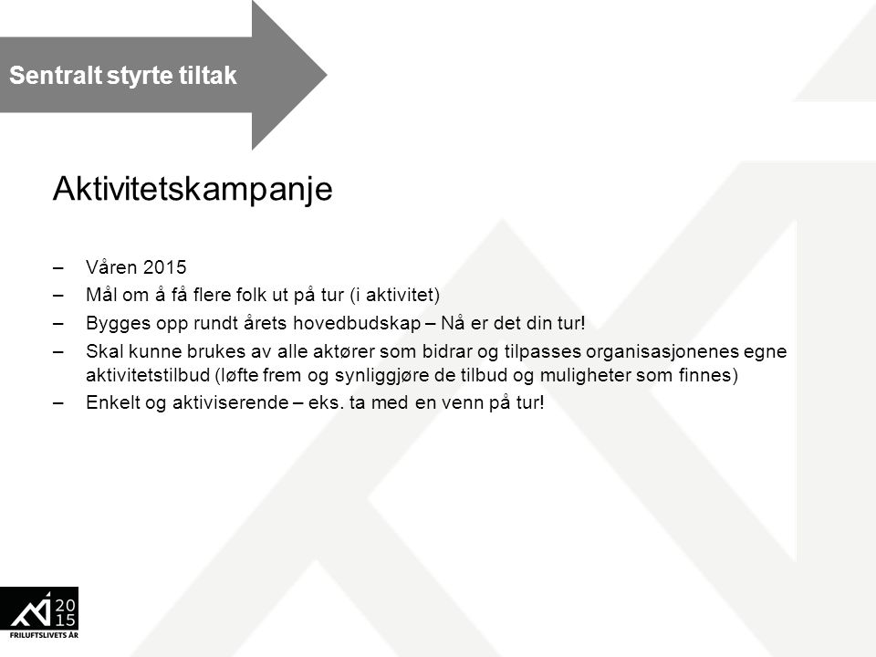 Aktivitetskampanje –Våren 2015 –Mål om å få flere folk ut på tur (i aktivitet) –Bygges opp rundt årets hovedbudskap – Nå er det din tur.