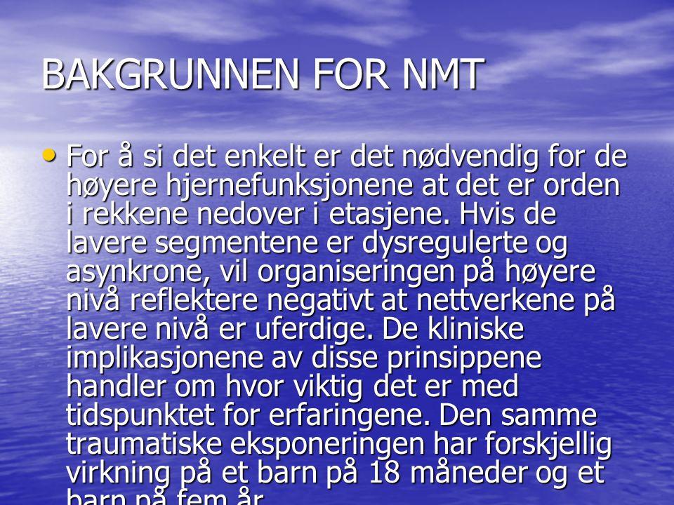BAKGRUNNEN FOR NMT For å si det enkelt er det nødvendig for de høyere hjernefunksjonene at det er orden i rekkene nedover i etasjene. Hvis de lavere s