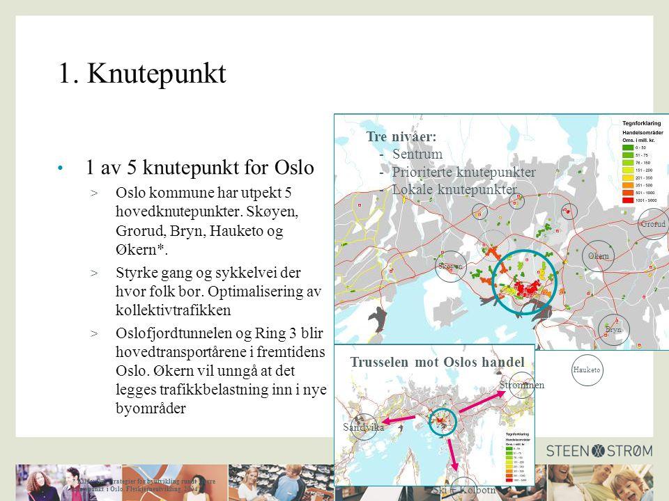 1. Knutepunkt 1 av 5 knutepunkt for Oslo > Oslo kommune har utpekt 5 hovedknutepunkter.