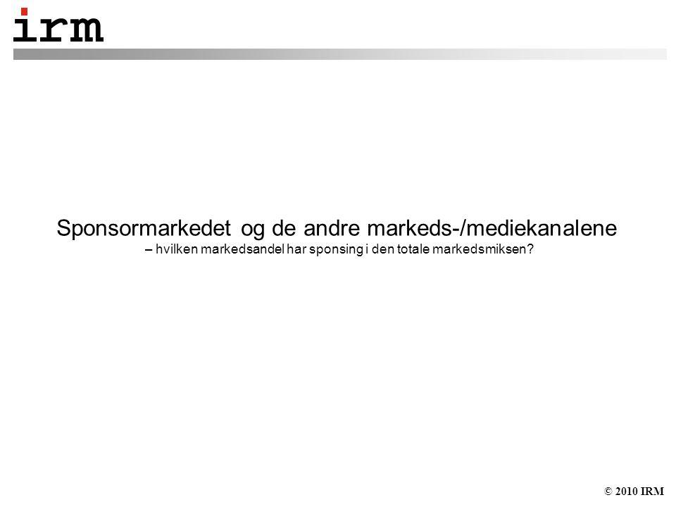 © 2010 IRM Sponsormarkedet og de andre markeds-/mediekanalene – hvilken markedsandel har sponsing i den totale markedsmiksen