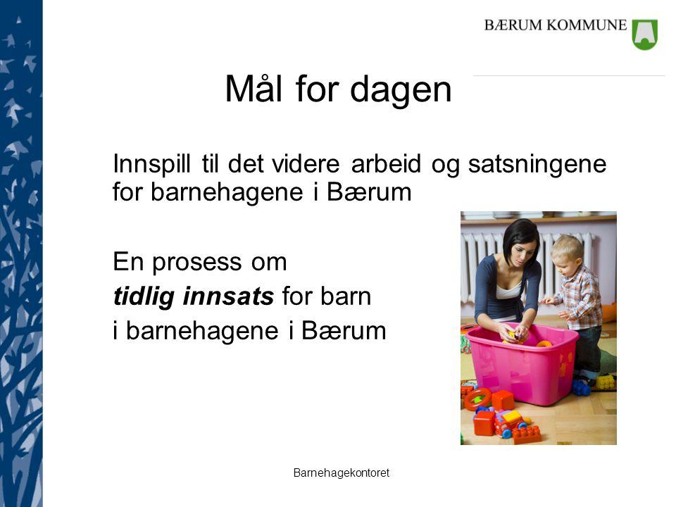 Barnehagekontoret Mål for dagen Innspill til det videre arbeid og satsningene for barnehagene i Bærum En prosess om tidlig innsats for barn i barnehag