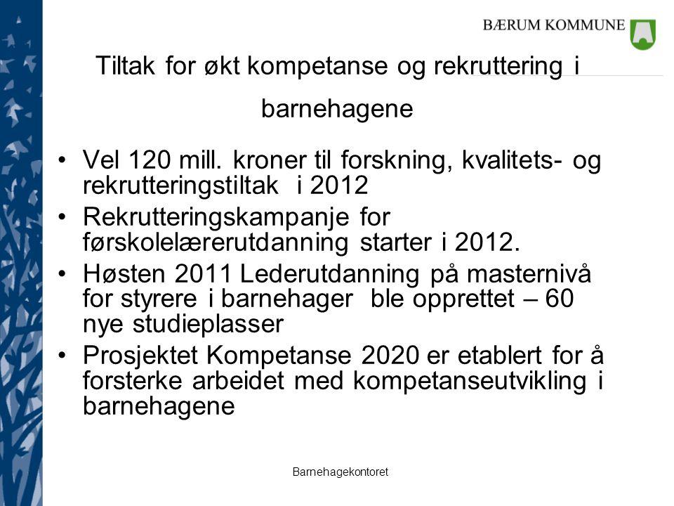 Barnehagekontoret Tiltak for økt kompetanse og rekruttering i barnehagene Vel 120 mill. kroner til forskning, kvalitets- og rekrutteringstiltak i 2012