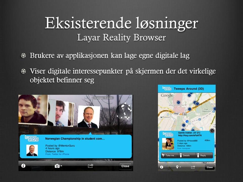 Eksisterende løsninger Brukere av applikasjonen kan lage egne digitale lag Viser digitale interessepunkter på skjermen der det virkelige objektet befinner seg Layar Reality Browser