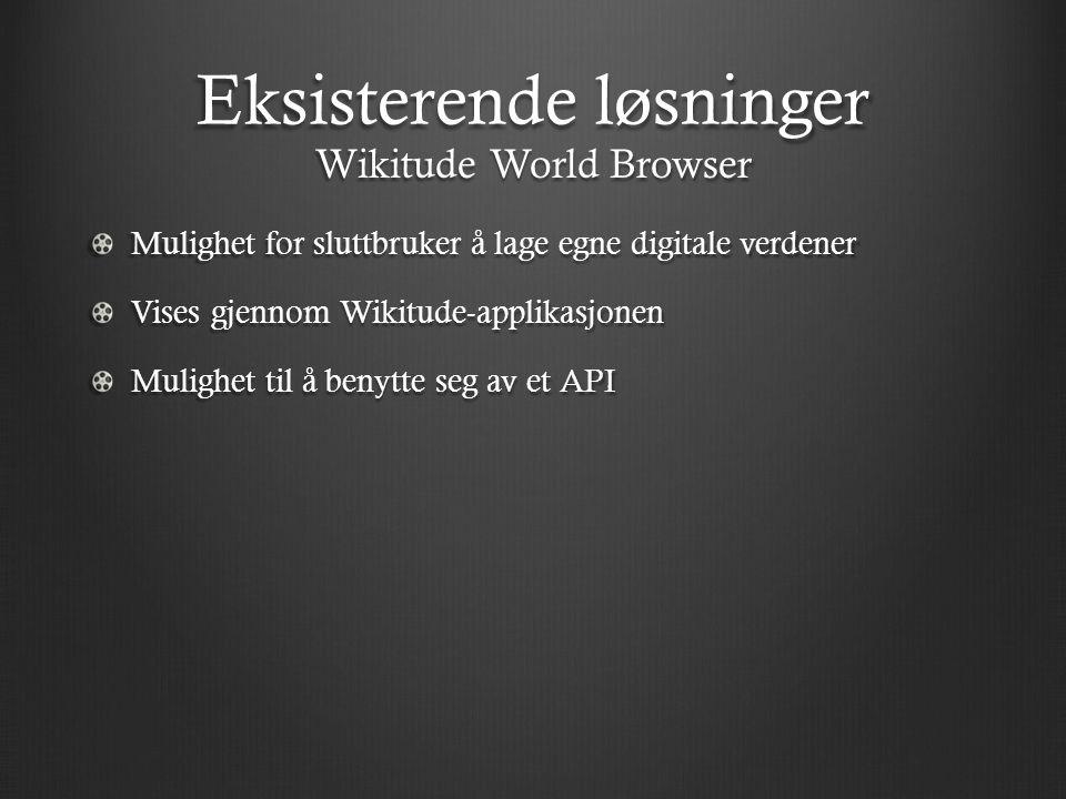 Eksisterende løsninger Mulighet for sluttbruker å lage egne digitale verdener Vises gjennom Wikitude-applikasjonen Mulighet til å benytte seg av et API Wikitude World Browser