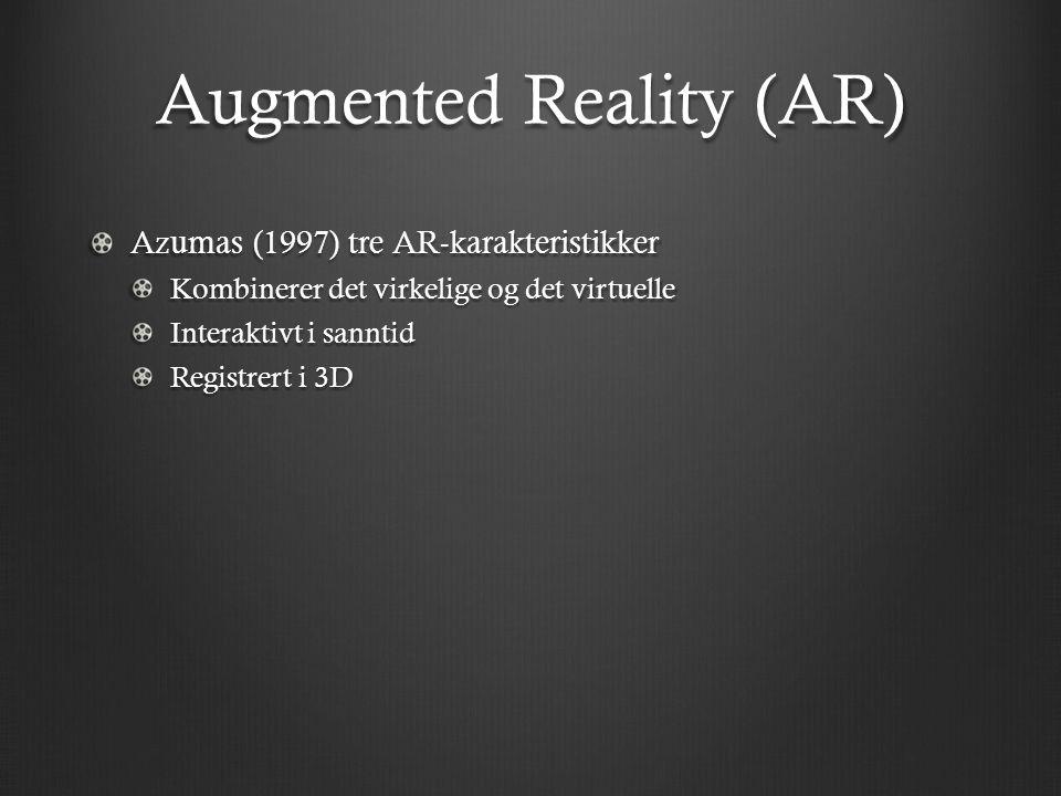 Augmented Reality (AR) Azumas (1997) tre AR-karakteristikker Kombinerer det virkelige og det virtuelle Interaktivt i sanntid Registrert i 3D