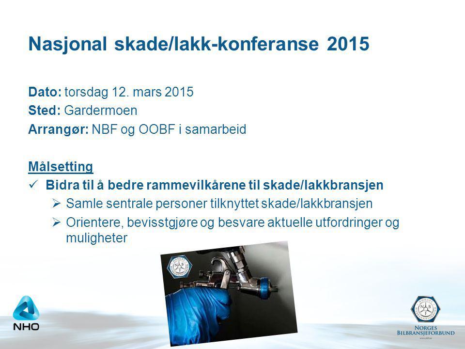 Nasjonal skade/lakk-konferanse 2015 Dato: torsdag 12. mars 2015 Sted: Gardermoen Arrangør: NBF og OOBF i samarbeid Målsetting Bidra til å bedre rammev