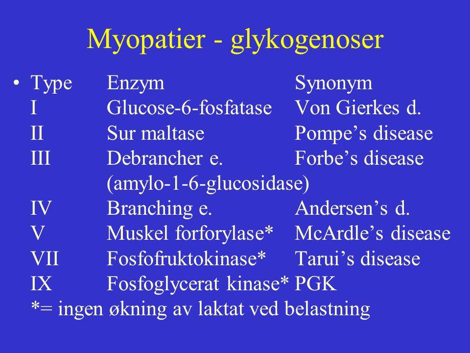 Myopatier - glykogenoser Type EnzymSynonym IGlucose-6-fosfataseVon Gierkes d. IISur maltasePompe's disease IIIDebrancher e.Forbe's disease (amylo-1-6-