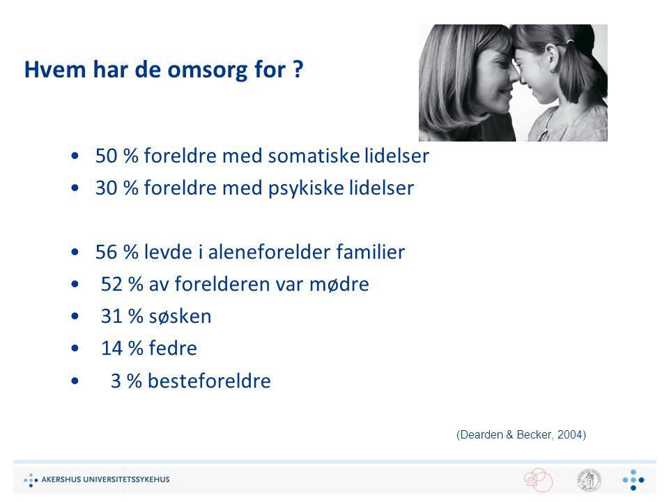 10 Hvem har de omsorg for ? 50 % foreldre med somatiske lidelser 30 % foreldre med psykiske lidelser 56 % levde i aleneforelder familier 52 % av forel