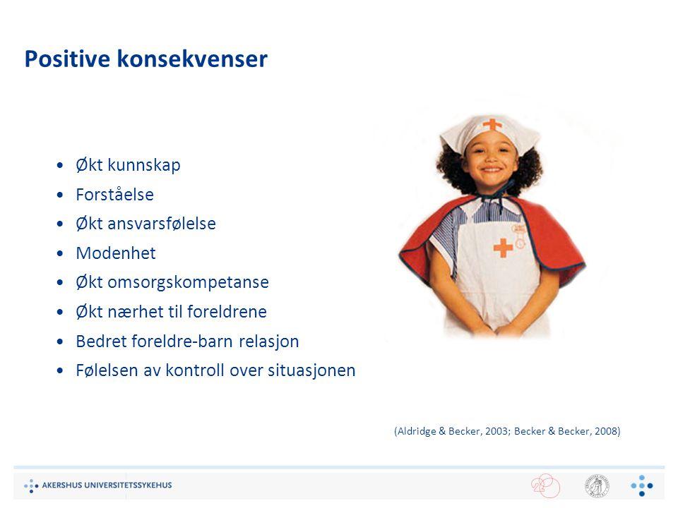 13 Positive konsekvenser Økt kunnskap Forståelse Økt ansvarsfølelse Modenhet Økt omsorgskompetanse Økt nærhet til foreldrene Bedret foreldre-barn rela