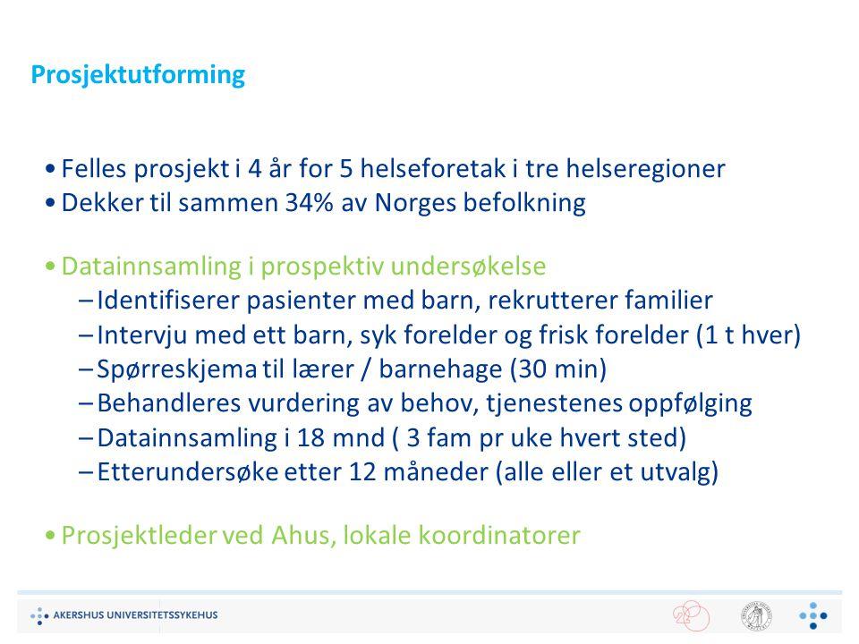 Prosjektutforming Felles prosjekt i 4 år for 5 helseforetak i tre helseregioner Dekker til sammen 34% av Norges befolkning Datainnsamling i prospektiv