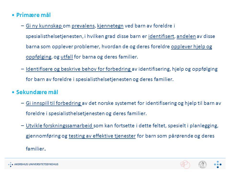 Kort oppsummert: Barn som pårørendes omsorgsarbeid i Norge 1995-2006Barns omsorgsansvar for psykisk syke foreldre - anerkjent problemstilling i en rekke offentlige dokumenter (Kallander, 2010) 2000-2010Barn 9-15 år inkludert i SSBs Tidsbruksundersøkelse, som også inkluderer barns omsorgsarbeid (Vaage, 2012) 2007-2010Fokus på problemstillingen i regjerningens satsning for barn som pårørende - men ingen tiltak initiert (Kallander et al., 2012) 2010Stort fokus i bakgrunn for endring av lov og rundskriv 2012Tre kortfilmer produsert (BarnBeste i samarbeid med Helsefilm; Bufdir) 2012-2016PhD forskningsprosjekt, multisenter studie (Kallander, 2012) 2013Fokus i TV-Aksjonen – Nasjonal foreningen for folkehelsen 2014maiBoklanseringen «I for store sko» -tekstsamling om barns omsorg Menneskelig nær – faglig sterk