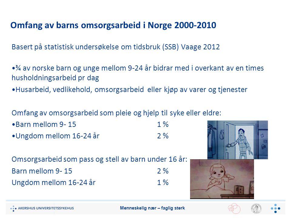 Omfang av barns omsorgsarbeid i Norge 2000-2010 Basert på statistisk undersøkelse om tidsbruk (SSB) Vaage 2012 ¾ av norske barn og unge mellom 9-24 år