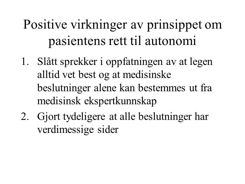 Positive virkninger av prinsippet om pasientens rett til autonomi 1.Slått sprekker i oppfatningen av at legen alltid vet best og at medisinske beslutn