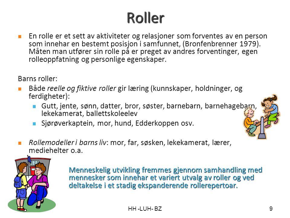 HH -LUH- BZ9 Roller En rolle er et sett av aktiviteter og relasjoner som forventes av en person som innehar en bestemt posisjon i samfunnet, (Bronfenb