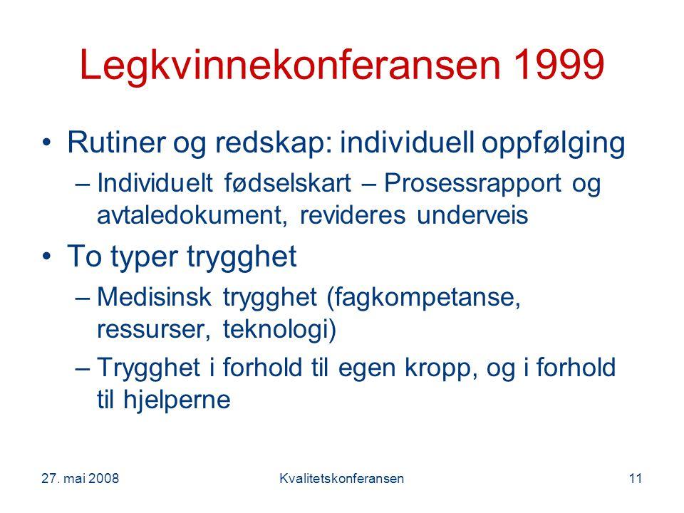 27. mai 2008Kvalitetskonferansen11 Legkvinnekonferansen 1999 Rutiner og redskap: individuell oppfølging –Individuelt fødselskart – Prosessrapport og a
