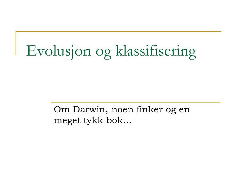 Evolusjon og klassifisering Om Darwin, noen finker og en meget tykk bok…