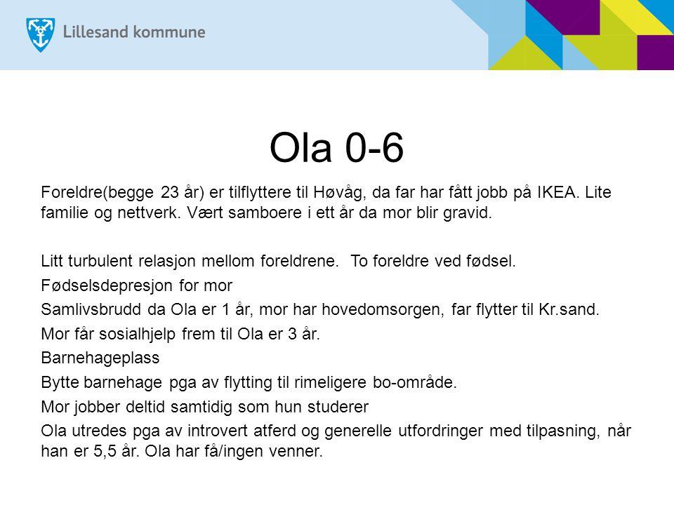 Ola 0-6 Foreldre(begge 23 år) er tilflyttere til Høvåg, da far har fått jobb på IKEA.