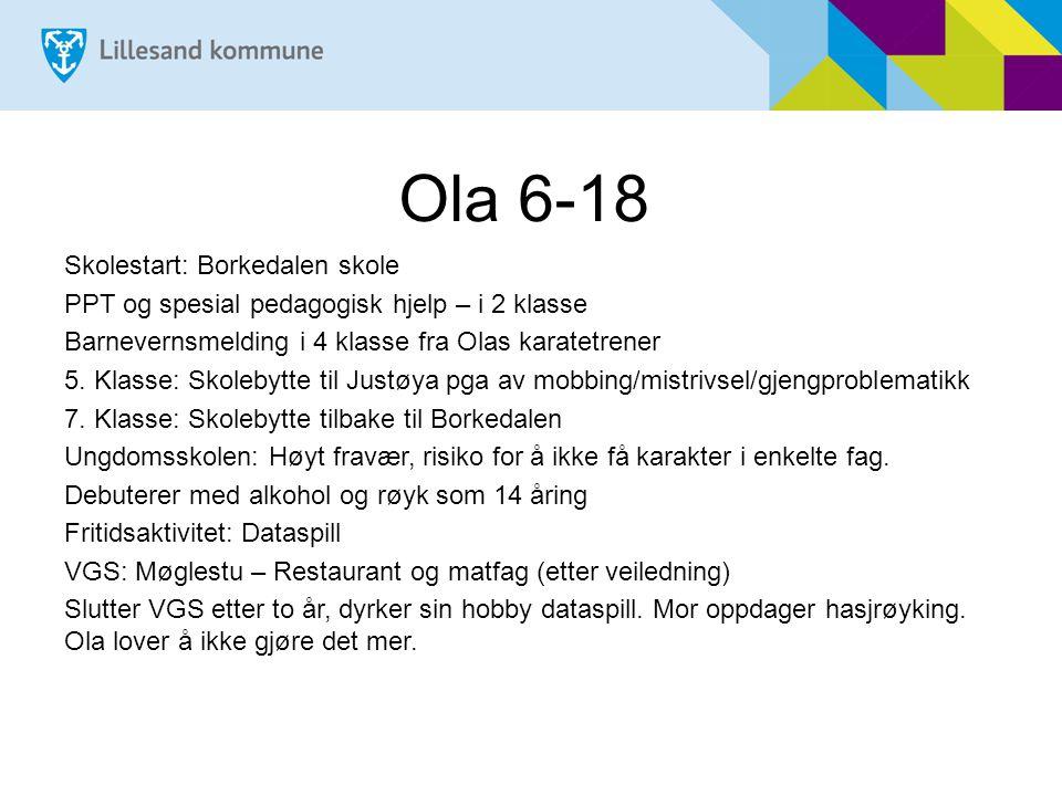 Ola 18-67 18 år: Nav, arbeidsledig 22 år: Fast jobb i industrien, etter flere år med små vikariater og arbeidstrening 24 år: Samboer og barn 29 år: Samlivsbrudd/helgepappa.