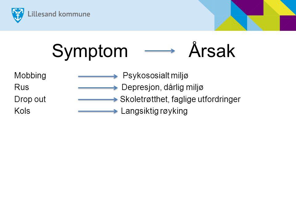 Symptom Årsak Mobbing Psykososialt miljø Rus Depresjon, dårlig miljø Drop out Skoletrøtthet, faglige utfordringer Kols Langsiktig røyking