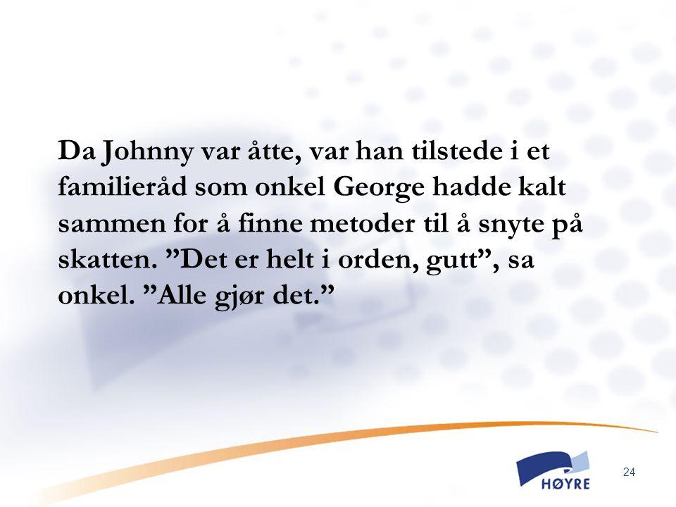 """24 Da Johnny var åtte, var han tilstede i et familieråd som onkel George hadde kalt sammen for å finne metoder til å snyte på skatten. """"Det er helt i"""