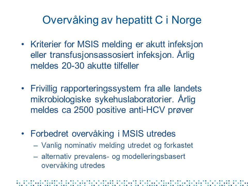 Overvåking av hepatitt C i Norge Kriterier for MSIS melding er akutt infeksjon eller transfusjonsassosiert infeksjon.