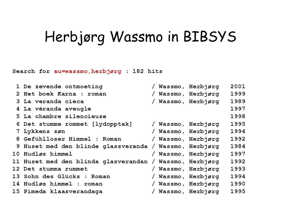 Search for au=wassmo,herbjørg : 182 hits 1 De zevende ontmoeting / Wassmo, Herbjørg 2001 2 Het boek Karna : roman / Wassmo, Herbjørg 1999 3 La veranda cieca / Wassmo, Herbjørg 1989 4 La véranda aveugle 1997 5 La chambre silencieuse 1998 6 Det stumme rommet [lydopptak] / Wassmo, Herbjørg 1995 7 Lykkens søn / Wassmo, Herbjørg 1994 8 Gefühlloser Himmel : Roman / Wassmo, Herbjørg 1992 9 Huset med den blinde glassveranda / Wassmo, Herbjørg 1984 10 Hudløs himmel / Wassmo, Herbjørg 1997 11 Huset med den blinda glasverandan / Wassmo, Herbjørg 1992 12 Det stumma rummet / Wassmo, Herbjørg 1993 13 Sohn des Glücks : Roman / Wassmo, Herbjørg 1994 14 Hudløs himmel : roman / Wassmo, Herbjørg 1990 15 Pimeda klaasverandaga / Wassmo, Herbjørg 1995 Herbjørg Wassmo in BIBSYS