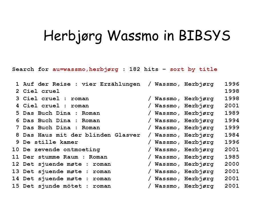 Search for au=wassmo,herbjørg : 182 hits – sort by title 1 Auf der Reise : vier Erzählungen / Wassmo, Herbjørg 1996 2 Ciel cruel 1998 3 Ciel cruel : roman / Wassmo, Herbjørg 1998 4 Ciel cruel : roman / Wassmo, Herbjørg 2001 5 Das Buch Dina : Roman / Wassmo, Herbjørg 1989 6 Das Buch Dina : Roman / Wassmo, Herbjørg 1994 7 Das Buch Dina : Roman / Wassmo, Herbjørg 1999 8 Das Haus mit der blinden Glasver / Wassmo, Herbjørg 1984 9 De stille kamer / Wassmo, Herbjørg 1996 10 De zevende ontmoeting / Wassmo, Herbjørg 2001 11 Der stumme Raum : Roman / Wassmo, Herbjørg 1985 12 Det sjuende møte : roman / Wassmo, Herbjørg 2000 13 Det sjuende møte : roman / Wassmo, Herbjørg 2001 14 Det sjuende møte : roman / Wassmo, Herbjørg 2001 15 Det sjunde mötet : roman / Wassmo, Herbjørg 2001 Herbjørg Wassmo in BIBSYS