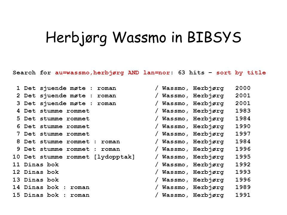 Search for au=wassmo,herbjørg AND lan=nor: 63 hits – sort by title 1 Det sjuende møte : roman / Wassmo, Herbjørg 2000 2 Det sjuende møte : roman / Wassmo, Herbjørg 2001 3 Det sjuende møte : roman / Wassmo, Herbjørg 2001 4 Det stumme rommet / Wassmo, Herbjørg 1983 5 Det stumme rommet / Wassmo, Herbjørg 1984 6 Det stumme rommet / Wassmo, Herbjørg 1990 7 Det stumme rommet / Wassmo, Herbjørg 1997 8 Det stumme rommet : roman / Wassmo, Herbjørg 1984 9 Det stumme rommet : roman / Wassmo, Herbjørg 1996 10 Det stumme rommet [lydopptak] / Wassmo, Herbjørg 1995 11 Dinas bok / Wassmo, Herbjørg 1992 12 Dinas bok / Wassmo, Herbjørg 1993 13 Dinas bok / Wassmo, Herbjørg 1996 14 Dinas bok : roman / Wassmo, Herbjørg 1989 15 Dinas bok : roman / Wassmo, Herbjørg 1991 Herbjørg Wassmo in BIBSYS
