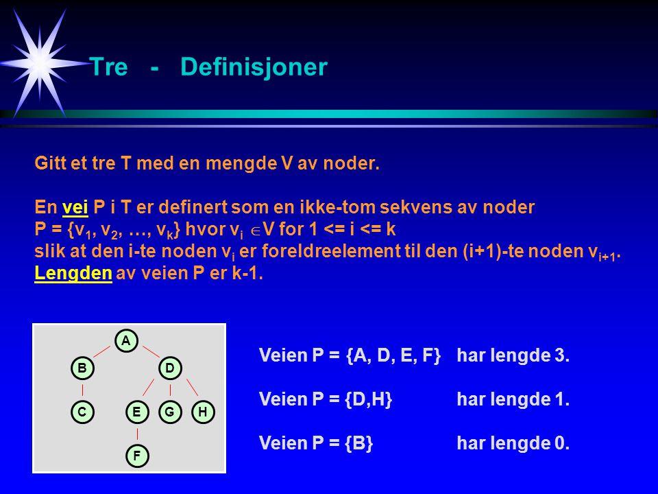 Tre - Definisjoner Gitt et tre T med en mengde V av noder. En vei P i T er definert som en ikke-tom sekvens av noder P = {v 1, v 2, …, v k } hvor v i