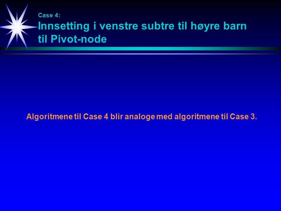 Case 4: Innsetting i venstre subtre til høyre barn til Pivot-node Algoritmene til Case 4 blir analoge med algoritmene til Case 3.