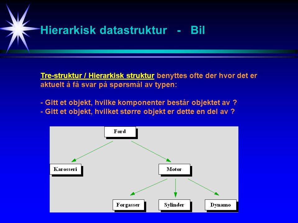 Hierarkisk datastruktur - Bil Tre-struktur / Hierarkisk struktur benyttes ofte der hvor det er aktuelt å få svar på spørsmål av typen: - Gitt et objekt, hvilke komponenter består objektet av .