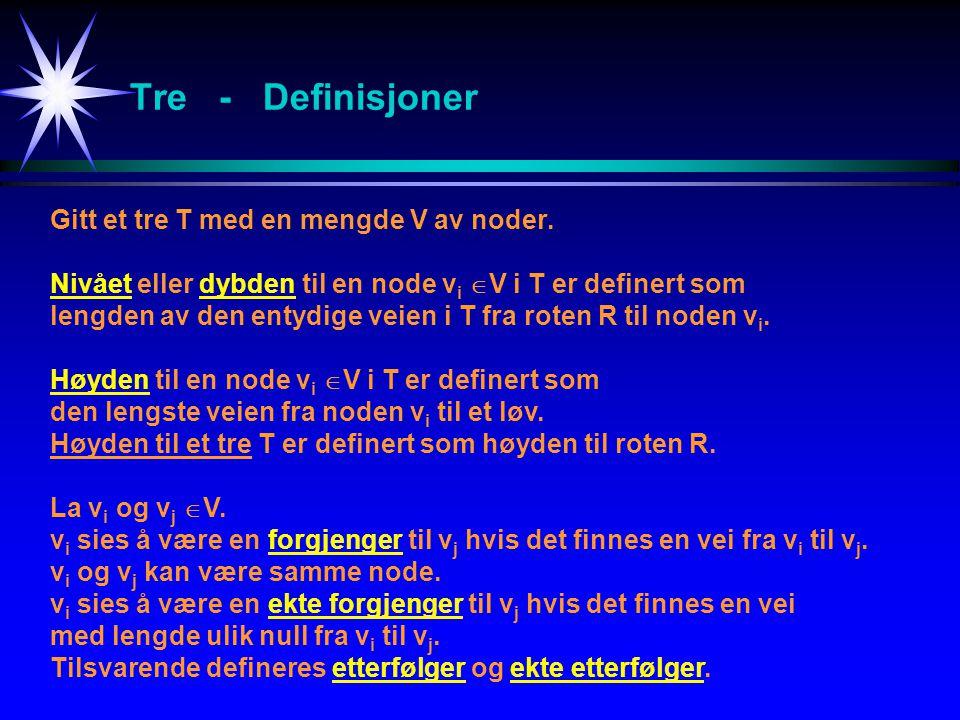 Tre - Definisjoner Gitt et tre T med en mengde V av noder. Nivået eller dybden til en node v i  V i T er definert som lengden av den entydige veien i