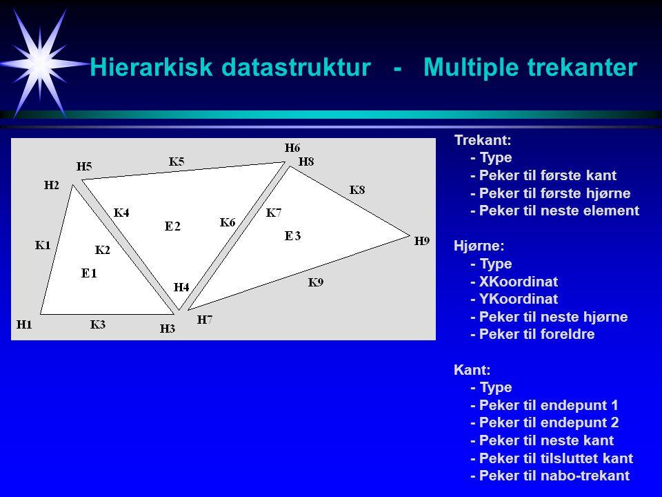 Hierarkisk datastruktur - Multiple trekanter Trekant: - Type - Peker til første kant - Peker til første hjørne - Peker til neste element Hjørne: - Typ
