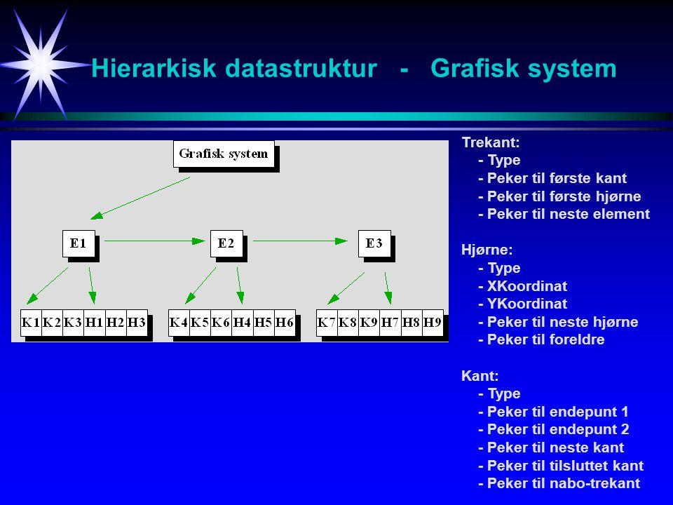 Hierarkisk datastruktur - Grafisk system Trekant: - Type - Peker til første kant - Peker til første hjørne - Peker til neste element Hjørne: - Type - XKoordinat - YKoordinat - Peker til neste hjørne - Peker til foreldre Kant: - Type - Peker til endepunt 1 - Peker til endepunt 2 - Peker til neste kant - Peker til tilsluttet kant - Peker til nabo-trekant