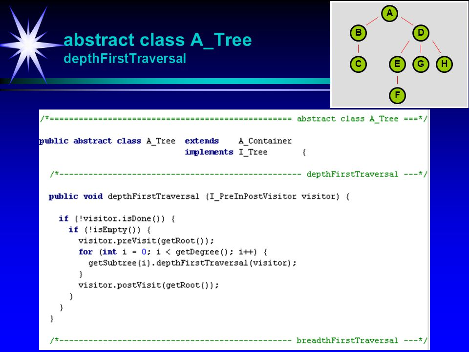 abstract class A_Tree depthFirstTraversal A BD CEGH F
