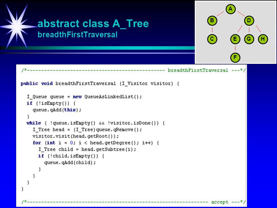 abstract class A_Tree breadthFirstTraversal A BD CEGH F