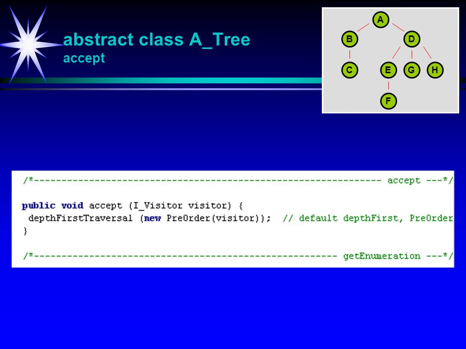 abstract class A_Tree accept A BD CEGH F
