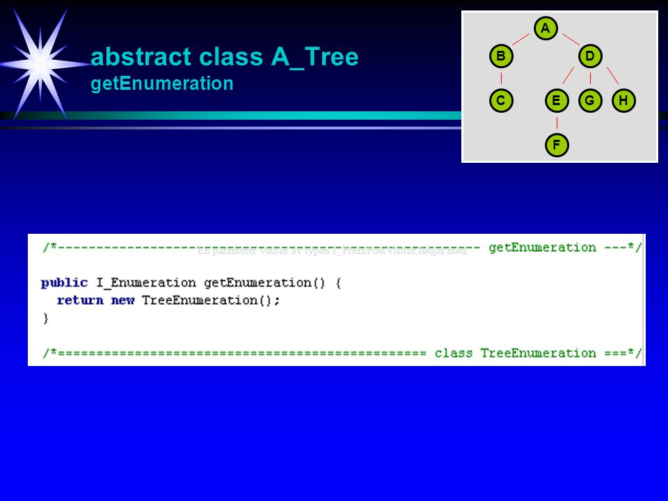 abstract class A_Tree getEnumeration En parameter visitor av typen I_PreInPostVisitor følger med. A BD CEGH F